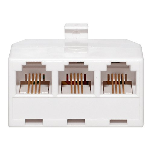 Three Way Phone Adapter (AMZER Triplex 3-Way Line Wall Jack Splitter Adapter - White)