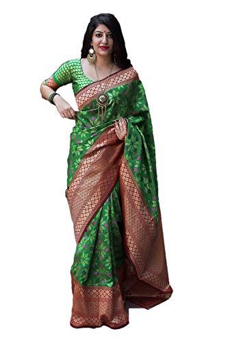 (REKHA Diwali Special Sarees for Women's Party Art Silk Kanchipuram Saree with Un-Stiched Blouse Piece A5)