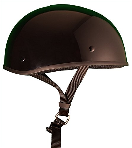 Bikerhelmets.com -  Micro Slim Motorcycle Helmet - DOT Approved Ultra Low Profile Beanie - Gloss Black With Peak - Large (Dot Approved Gloss)