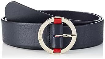 Tommy Hilfiger Round Buckle Belt, Cinturón para Mujer, Azul (Navy 413), 90