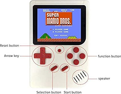 KKRONAS SUP 400 in 1 Retro Game Box Console Handheld Game PAD Box with TV Output Gaming Console 8 GB with Mario/Super Mario/DR Mario/Contra/Turtles and Other 400 Games (White)