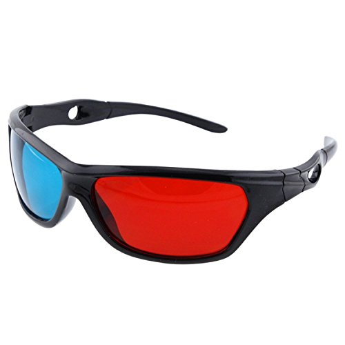 Theo&Cleo 3 Pack Black Frame Red Blue 3D Glasses For TV Dimensional Anaglyph Movie Game