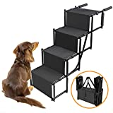 Dog Car Step Stairs Foldable – SUKI&SAMI Metal Frame Folding Dog Ramp for Car,Lightweight Portable Large Dog Ladder,for Dogs and Cats,SUVs and Trucks,Couch and Bed,Protect Pets' Joint and Knee Review