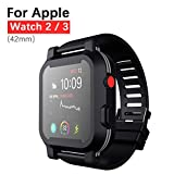Waterproof Apple Watch Series 2&3 42mm Case, Waterproof Shockproof Impact Resistant Rugged Protective Case with Bulit-in Screen Protector Premium Soft Strap Bands