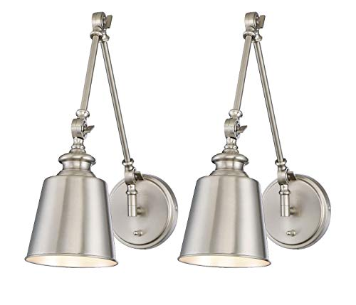 Trade Winds Lighting TW90033BN Set of 2 Transitional 1-Light Swing Arm Wall Lamp, 100 Watts, in Brushed Nickel