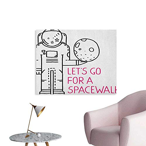 Anzhutwelve Outer Space Photographic Wallpaper Space Walk Quote with a Man Romance Love in Stars Minimalist Design Image Funny Poster Black and Pink W36 xL24]()
