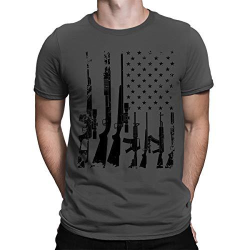 SpiritForged Apparel Distressed USA Gun Flag Men's T-Shirt, Charcoal XL