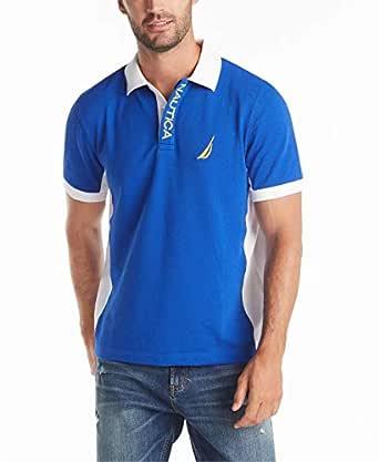 Nautica Men's Short Sleeve Color Block Performance Pique Polo Shirt, Bright Cobalt, Small