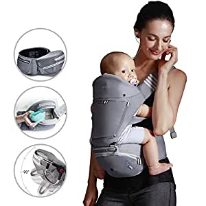 Bebamour Baby Carrier with Hip Seat for All Seasons, 6 in 1 Comfortable & Safe for Infant & Toddlers,Ergonomic Baby Backpack Carrier For Baby Shower Gift (Grey)