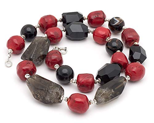 - Smoky quartz, onyx and red coral statement long necklace in sterling silver 925