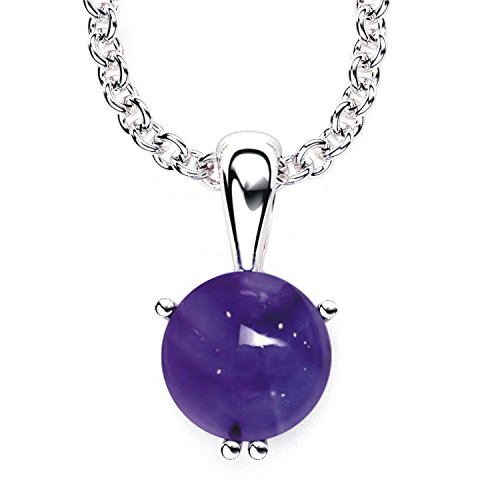 Amethyst Cabochon Pendant - 3 Carats 10mm Round Solitaire Shaped Amethyst Cabochon Pendant Necklace with 17.5