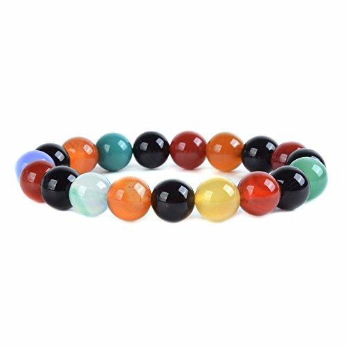 (Multi-color Agate Gemstone 10mm Round Beads Stretch Bracelet 6.5