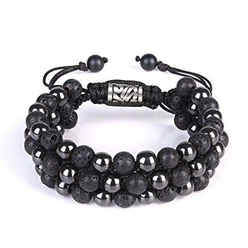 Cat Eye Jewels Mens Womens Beaded Bracelets 6mm Natural Healing Stones Lava Rock Hematite Beads Bracelet Triple Layered Adjustable Macrame for Men Women H026