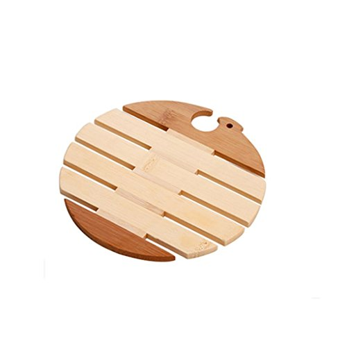 Morecome 1Pc Wooden Placemat Insulation Mats Coasters Table Coasters (Round)