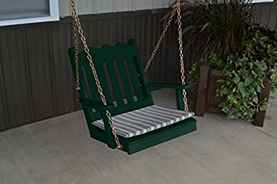 2 Ft Pine Outdoor Royal English Chair Swing Amish Made USA- Dark Green Paint