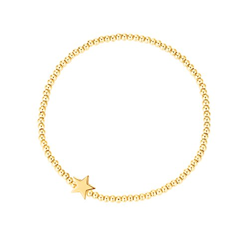 MetJakt Sleek Elastic Beads 18K Gold Plated Classic Stretch Bracelet with Various Pendants (star link, yellow-gold-plated-base)