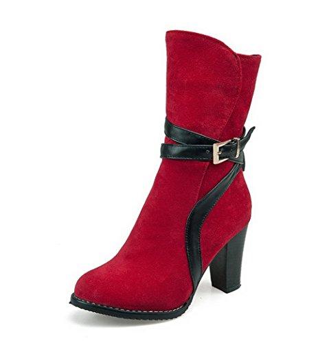 AdeeSu Womens Buckle Wheeled Heel Shoes Round Toe Imitated Leather Boots Red cnpTo5B