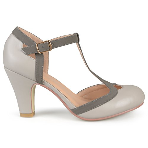 - Brinley Co. Womens Cut Out Round Toe T-Strap Two-Tone Matte Mary Jane Pumps Grey, 9 Wide Width US