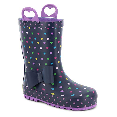 Western Chief Girls' Waterproof Printed Rain Boot with Easy Pull on Handles, Heart Parade Navy 13 M US Little Kid