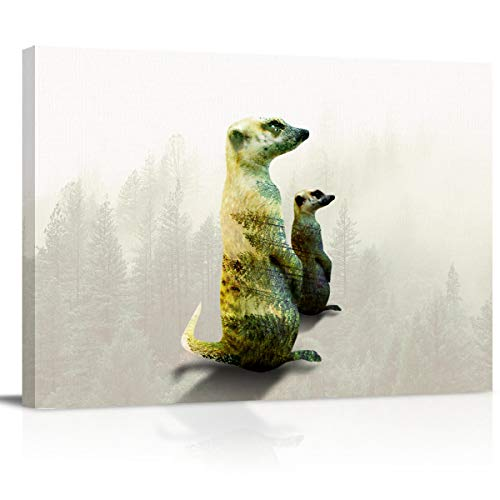 Canvas Wall Art Pictures Canvas Artwork Prints, Double Exposure of Two Standing Meerkats Contemporary Decor for Home Living Room Bedroom Decoration Office Framed Ready to Hang 12''X18''