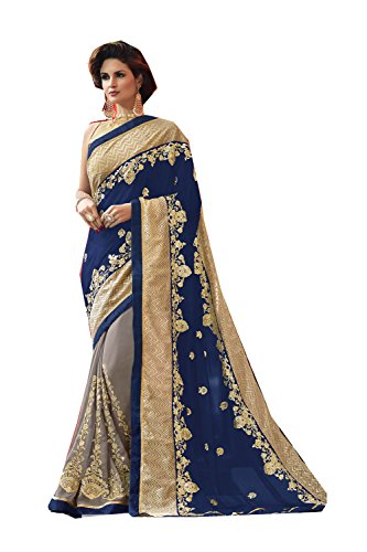 Da Facioun Indian Sarees For Women Wedding Designer Party Wear Traditional Saree. Da Facioun Saris Indiens Pour Les Femmes Portent Partie Concepteur De Mariage Sari Traditionnel. Blue & Grey 50 Bleu Et Gris 50