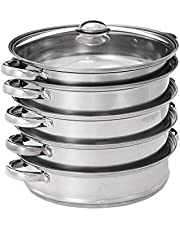 MXJDZJ 5 Layers Stainless Steel Thick Steamer Pot Soup Steam Pot Universal Cooking Pots for Induction Cooker Gas Stove steam pot