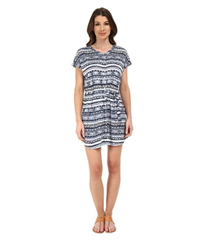 Michael Stars Women's Tribal Print Short Sleeve Shirtdress Indigo Dress XS (US 0-2)
