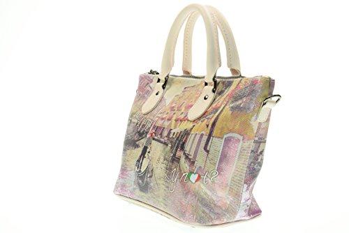 Y NOT? Damenhandtasche mit Schulterriemen H-395-BIP Rosa mTdoMoveFq