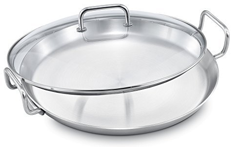 With Paella Pan Lid (SERAFINO ZANI IHC Series Temperature Controlled 230℃ (466°F) 18/10 Stainless Steel 32cm (12 inch) Round Grill Pan/Griddle with Glass Cover (The Thermostat Just For Induction Cooktop))