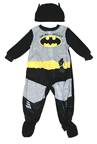 DC Comics Baby Boys Batman Footed Sleeper Pajama (up All Night, 12 Months)