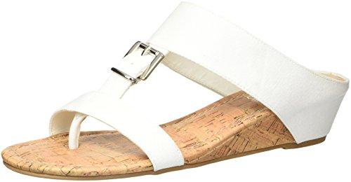 Chinese Thong Sandals - Rampage Women's Senorita Cork Demi-Wedge T-Strap Thong Sandal, White Canvas, 6.5 M US
