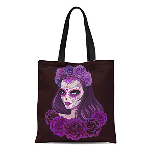Semtomn Canvas Tote Bag Girl Beautiful Sugar Skull Woman Day of Dead Voodoo Durable Reusable Shopping Shoulder Grocery Bag ()