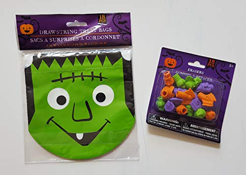 The Spotted Moose Halloween Candy Bags Trick Treat Goody Bags Double Drawstrings Halloween Party Supplies, Pack of 18 (Frankenstein)