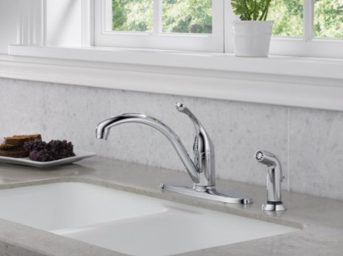 Delta 440-DST Collins Single-Handle Kitchen Faucet with Matching Side Sprayer, Chrome by DELTA FAUCET (Image #2)