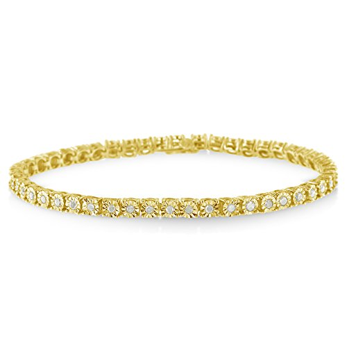 10k Yellow Gold Plated Sterling Silver Rose Cut Diamond Miracle Tennis Bracelet (1 cttw, I-J Color, I3 Clarity) - Gold Diamond Fashion Bracelet