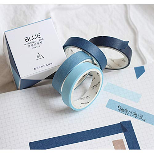 Yubbaex Natural Color Washi Tape Set 4 Rolls Decorative Tapes for Arts, DIY Crafts, Bullet Journals, Planners, Scrapbooking, Wrapping -Neutral Color- (6-Blue)