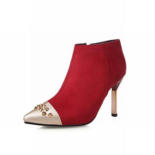 Latasa Mujeres Sexy Remaches Con Tachuelas Puntiagudas Botas De Tacón De Aguja De Tacón Alto Botas De Tobillo Botas Dress Red
