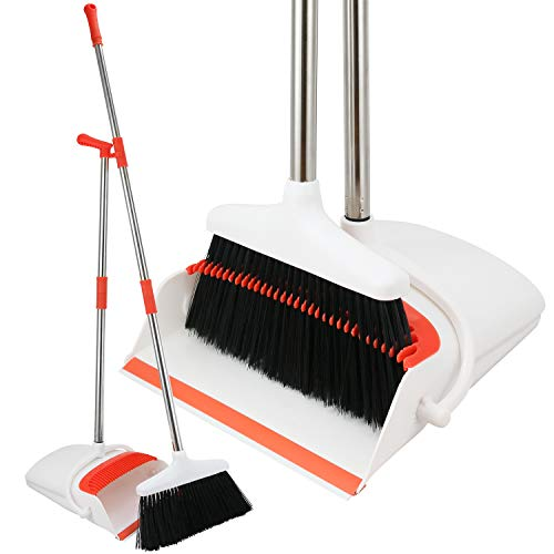 Broom and Dustpan Set - Strongest 30% Heavier Duty - Upright Standing Dust Pan with Extendable Broomstick for Easy Sweeping - Easy Assembly Great Use for Home, Office, Kitchen, Lobby Etc.- by Kray