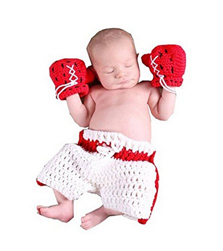 Lanue Baby Newborn Boxing Crochet Knitted Costume Glove Pants Photo Photography (Fancy Dress Boxing Gloves)