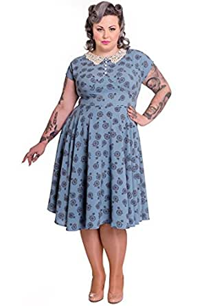 Hell Bunny Plus Vintage Style Blue Vintage Bicycle Penny Lover Tea Party Dress (3XL)