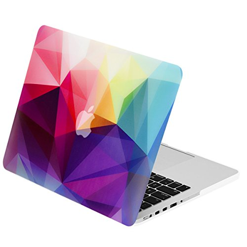TOP CASE - Colorful Geometric Abstract 3D Triangles Pattern Rubberized Hard Case Compatible with Apple MacBook Pro 15'' with Retina Display (Release 2012-2015) Model: A1398 by TOP CASE