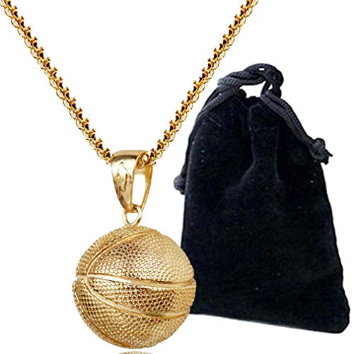 LIYALI Fashion Boys Basketball Pendant Necklace Stainless Steel Necklace Sports Necklace (Gold th)