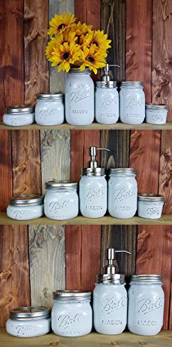 Custom 4, 5 or 6 Piece Painted Mason Jar Bathroom Set with Soap Dispenser Lid – Bathroom Accessories – Rustic Farmhouse Decor – Country Chic Decor – Available in 20 Colors – Shown Light French Gray