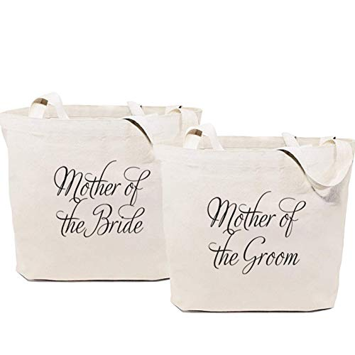Mother of Bride & Groom | Cotton Canvas Tote Bags (2) | Bride Tribe Bridesmaid Gift Bag Box | Bachelorette Bridal Cosmetic Purse Wedding Partys Favor Makeup Tote Bag Set [Pack of 2]