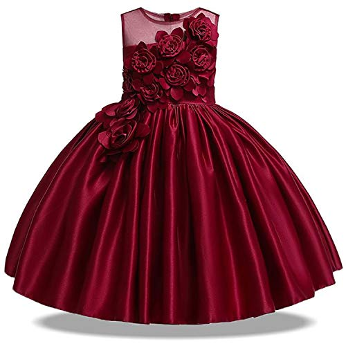 Summer Party Princess Dress Girl Wedding Costume Kids Dresses for Girls Bridesmaid Dresss,Wine Red,4 -