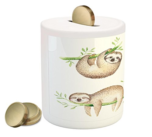 Ambesonne Sloth Piggy Bank, Cute Babies in Tropical Nature Theme Exotic Palm Tree Leaves Nursery Aloha, Printed Ceramic Coin Bank Money Box for Cash Saving, Pale Brown Green