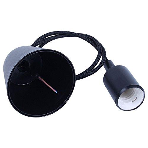 Light Braided Ceiling (TOOGOO(R)Black Silicone E27 Socket Lamp Holder Pendant Lighting DIY Ceiling Light)