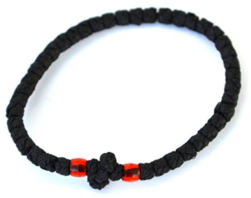 Chotki Bracelet Waxed Wool Black with Red Beads, Greek Orthodox Prayer Rope
