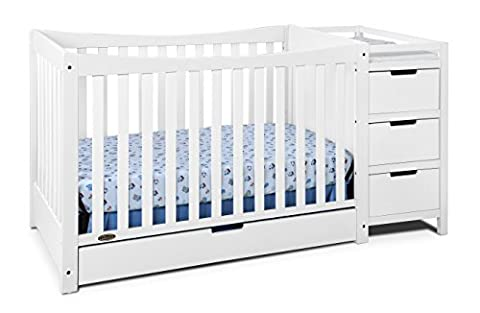Graco Remi 4-in-1 Convertible Crib and Changer, White - 3 Drawer Combo Changer