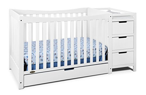 Graco Remi 4-in-1 Convertible Crib and Changer, White, Easily Converts to Toddler Bed Day Bed or Full Bed, Three Position Adjustable Height Mattress, Some Assembly Required (Mattress Not Included)